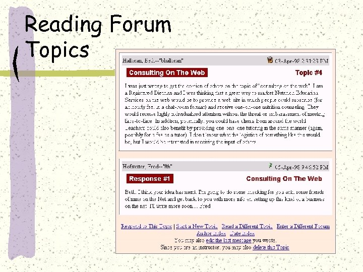 Reading Forum Topics