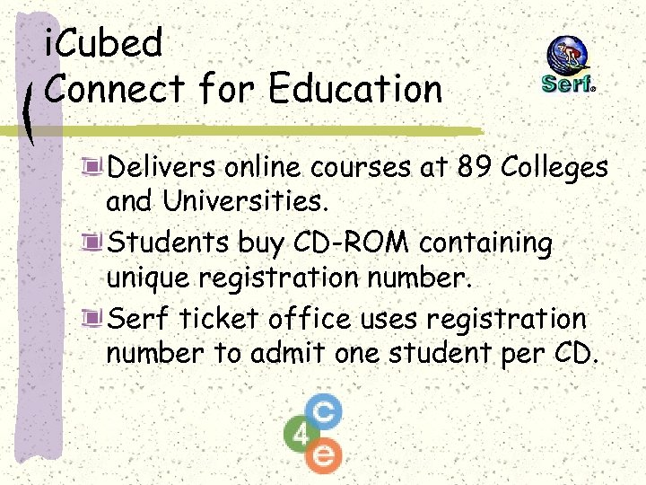 i. Cubed Connect for Education Delivers online courses at 89 Colleges and Universities. Students