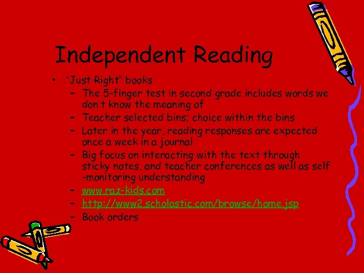 """Independent Reading • """"Just Right"""" books – The 5 -finger test in second grade"""
