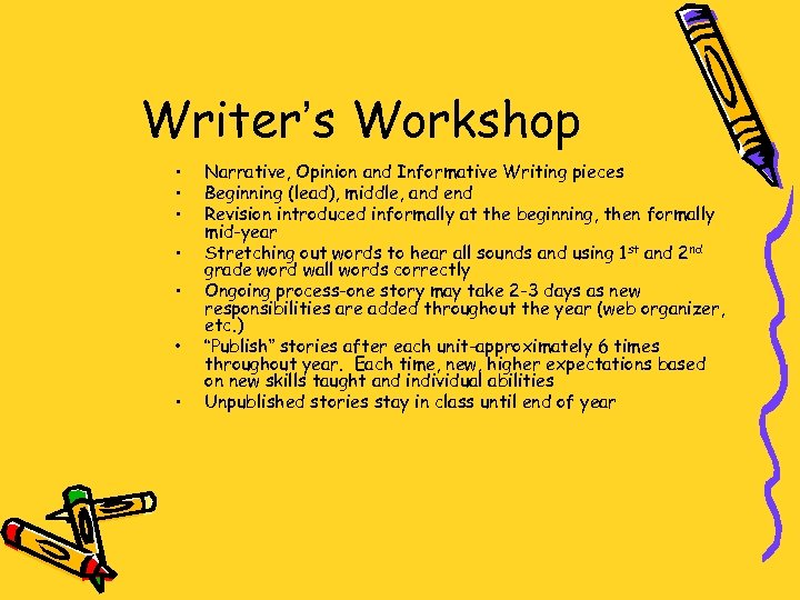Writer's Workshop • • Narrative, Opinion and Informative Writing pieces Beginning (lead), middle, and