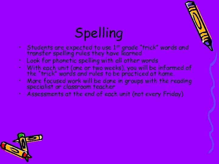 """Spelling • Students are expected to use 1 st grade """"trick"""" words and transfer"""