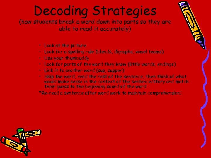 Decoding Strategies (how students break a word down into parts so they are able