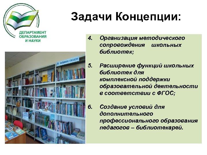 Задачи Концепции: 4. Организация методического сопровождения школьных библиотек; 5. Расширение функций школьных библиотек для