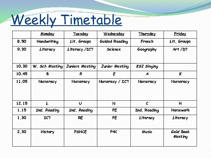 Weekly Timetable Monday Tuesday Wednesday Thursday Friday 8. 50 Handwriting Lit. Groups Guided Reading