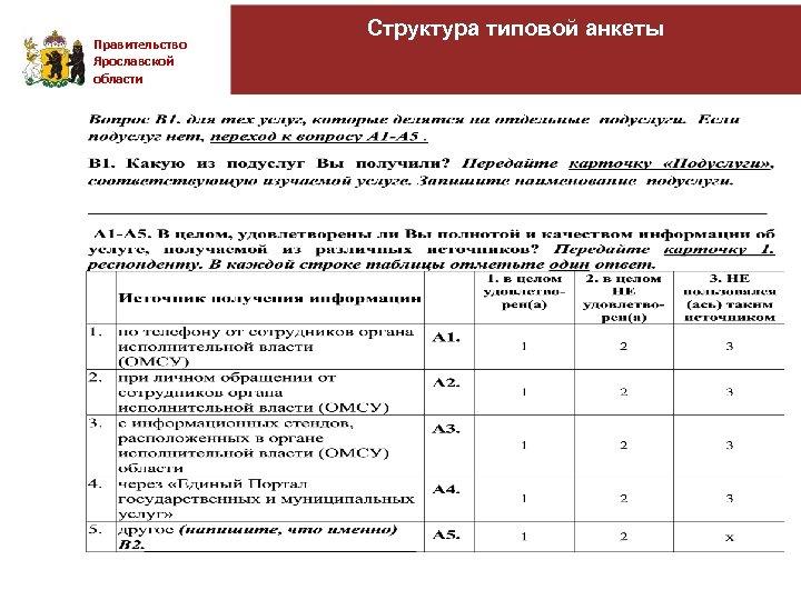 Правительство Ярославской области Структура типовой анкеты