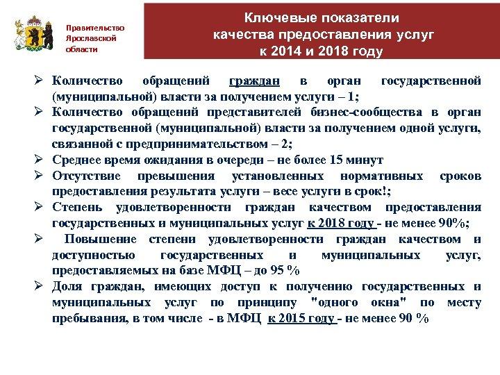 Правительство Ярославской области Ключевые показатели качества предоставления услуг к 2014 и 2018 году Ø