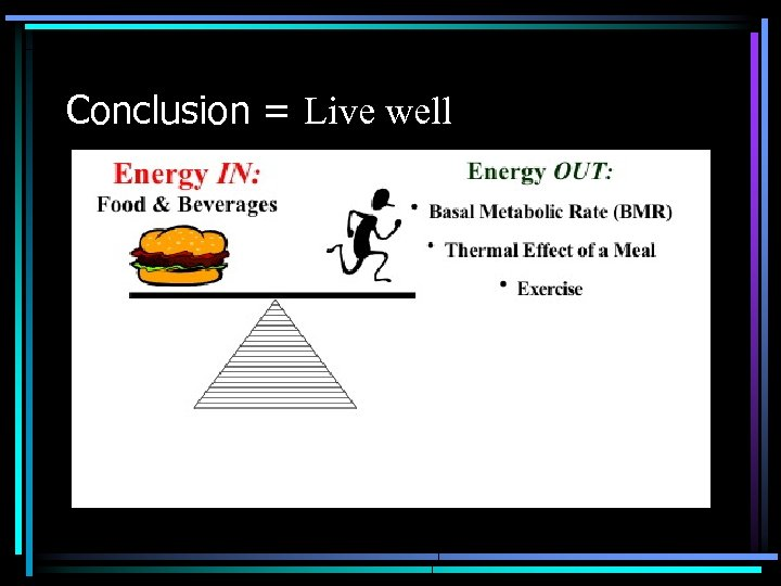 Conclusion = Live well