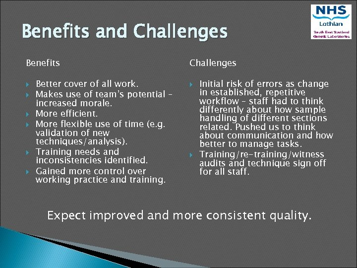 Benefits and Challenges Benefits Better cover of all work. Makes use of team's potential
