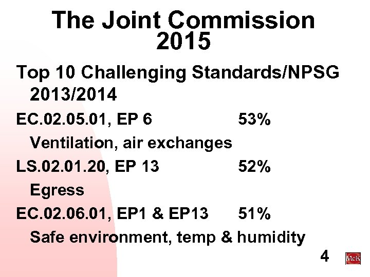 The Joint Commission 2015 Top 10 Challenging Standards/NPSG 2013/2014 EC. 02. 05. 01, EP