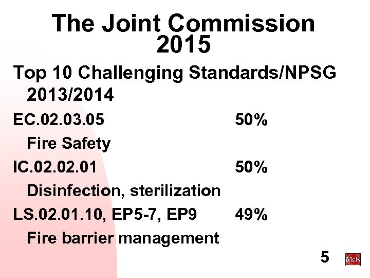 The Joint Commission 2015 Top 10 Challenging Standards/NPSG 2013/2014 EC. 02. 03. 05 50%
