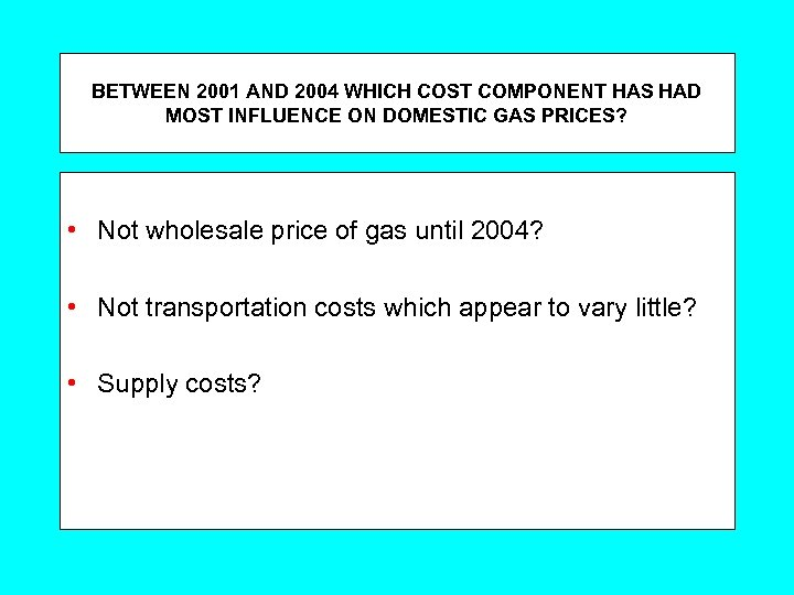 BETWEEN 2001 AND 2004 WHICH COST COMPONENT HAS HAD MOST INFLUENCE ON DOMESTIC GAS