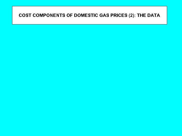 COST COMPONENTS OF DOMESTIC GAS PRICES (2): THE DATA