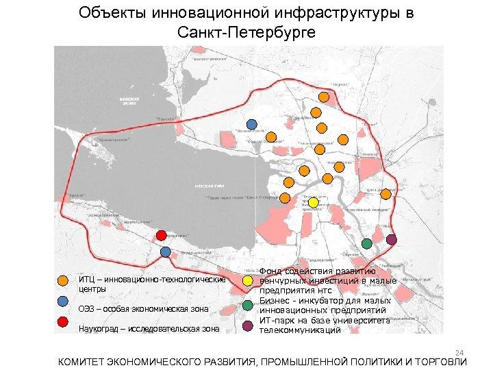 Объекты инновационной инфраструктуры в Санкт-Петербурге ИТЦ – инновационно-технологические центры ОЭЗ – особая экономическая зона