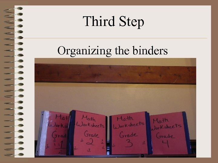 Third Step Organizing the binders