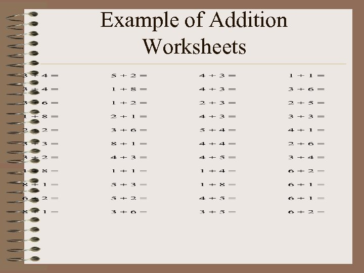 Example of Addition Worksheets
