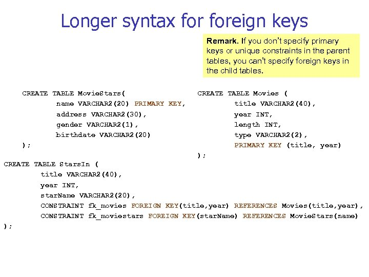 Longer syntax foreign keys Remark. If you don't specify primary keys or unique constraints