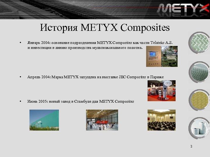 История METYX Composites • Январь 2004: основание подразделения METYX Composites как части Telateks A.