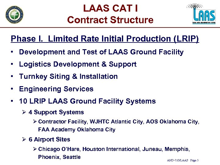 LAAS CAT I Contract Structure Phase I. Limited Rate Initial Production (LRIP) • Development