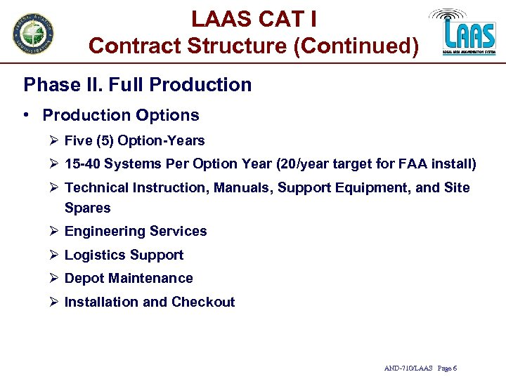 LAAS CAT I Contract Structure (Continued) Phase II. Full Production • Production Options Ø
