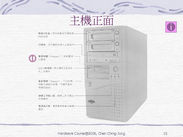 主機正面 Hardware Course@2006, Chen Ching-Jung 15