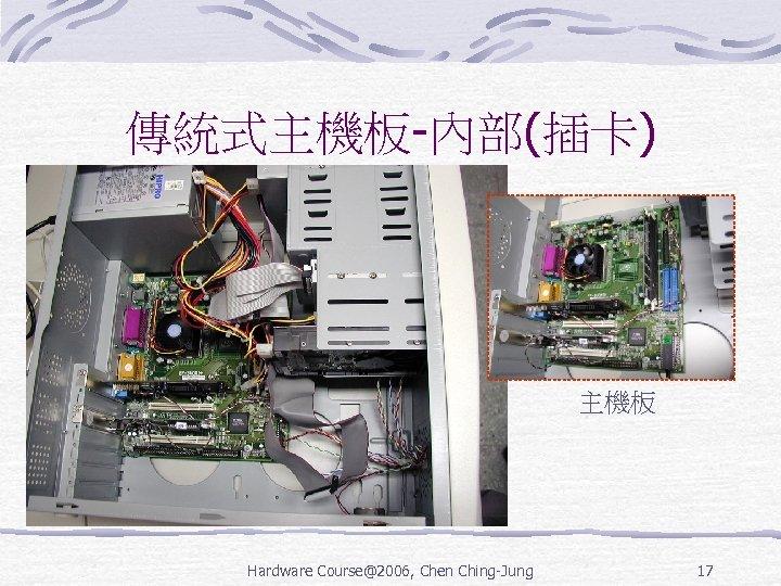 傳統式主機板-內部(插卡) 主機板 Hardware Course@2006, Chen Ching-Jung 17