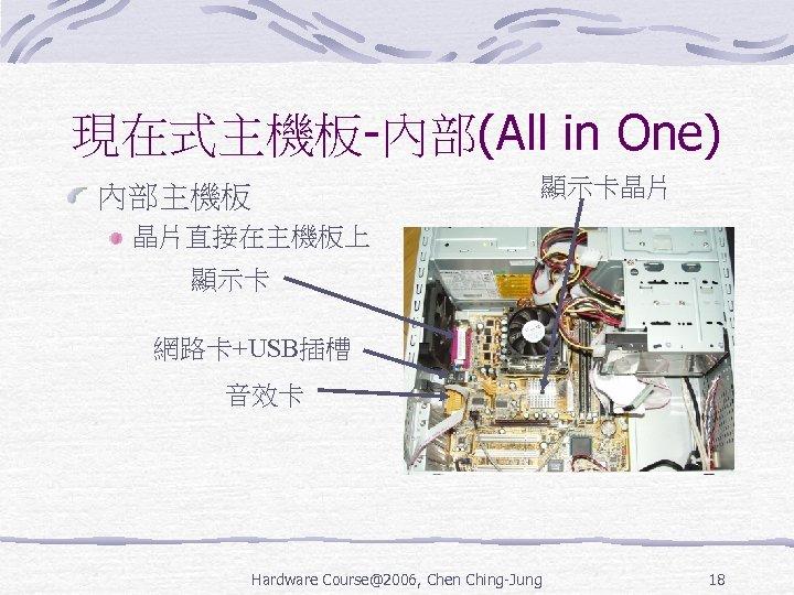 現在式主機板-內部(All in One) 顯示卡晶片 內部主機板 晶片直接在主機板上 顯示卡 網路卡+USB插槽 音效卡 Hardware Course@2006, Chen Ching-Jung 18