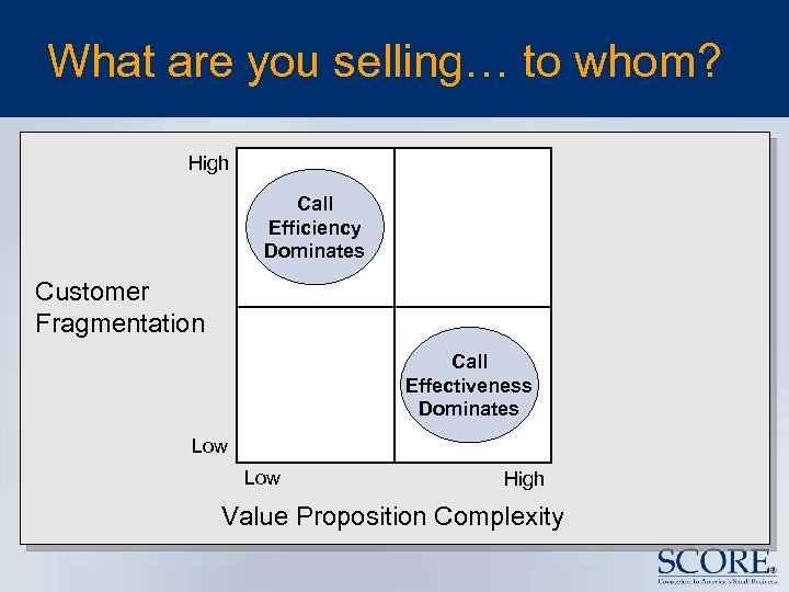 What are you selling… to whom? High Call Efficiency Dominates Customer Fragmentation Call Effectiveness