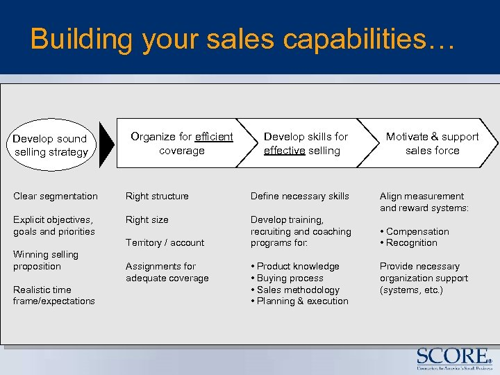Building your sales capabilities… Develop sound selling strategy Organize for efficient coverage Develop skills