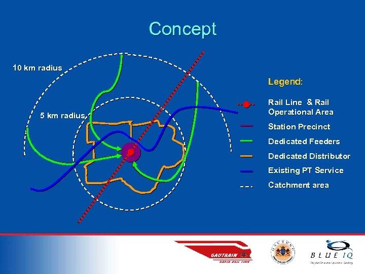 Concept 10 km radius Legend: 5 km radius Rail Line & Rail Operational Area