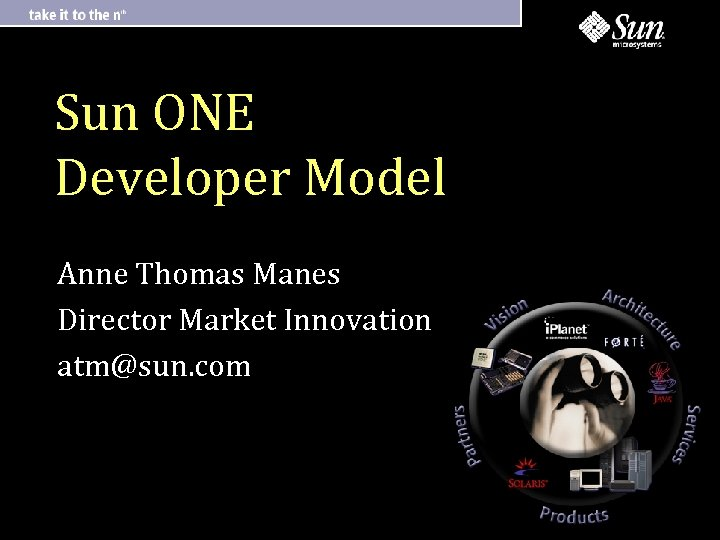 Sun ONE Developer Model Anne Thomas Manes Director Market Innovation atm@sun. com