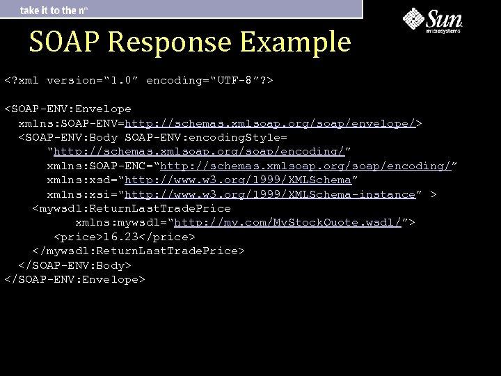"SOAP Response Example <? xml version="" 1. 0"" encoding=""UTF-8""? > <SOAP-ENV: Envelope xmlns: SOAP-ENV=http:"