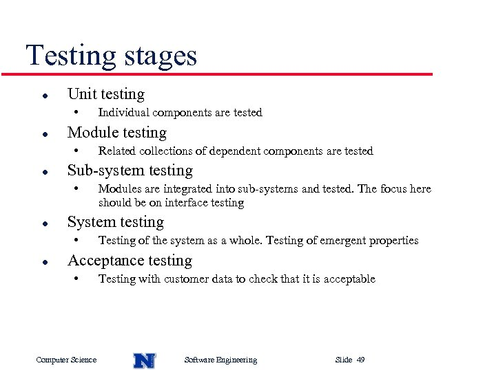 Testing stages l Unit testing • l Modules are integrated into sub-systems and tested.