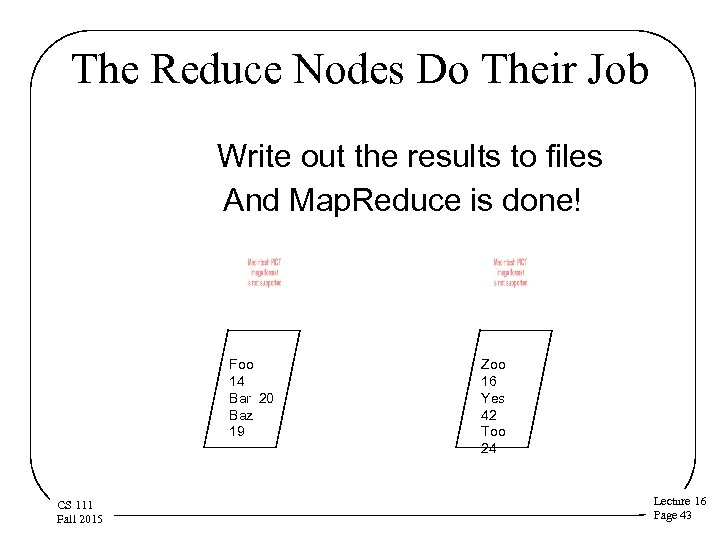 The Reduce Nodes Do Their Job Write out the results to files And Map.