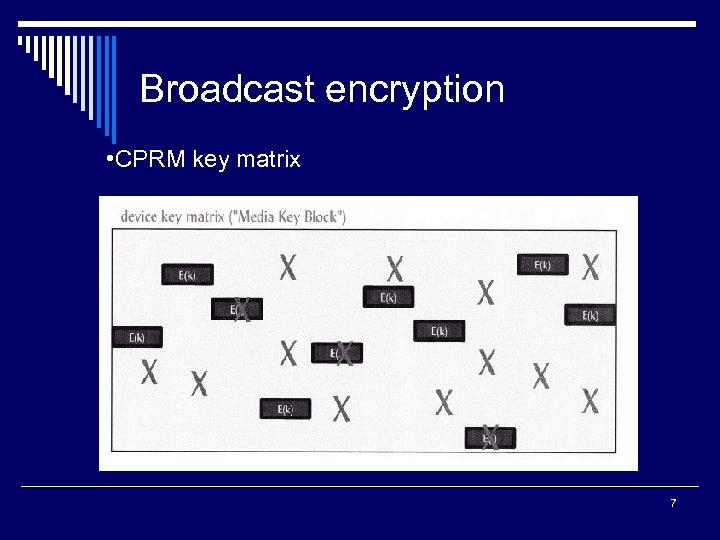 Broadcast encryption • CPRM key matrix 7