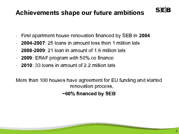 Achievements shape our future ambitions • First apartment house renovation financed by SEB in