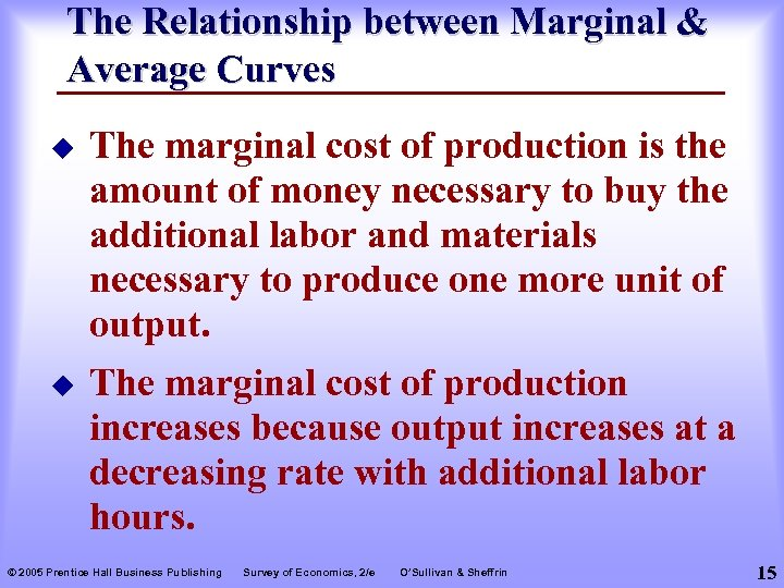 The Relationship between Marginal & Average Curves u The marginal cost of production is