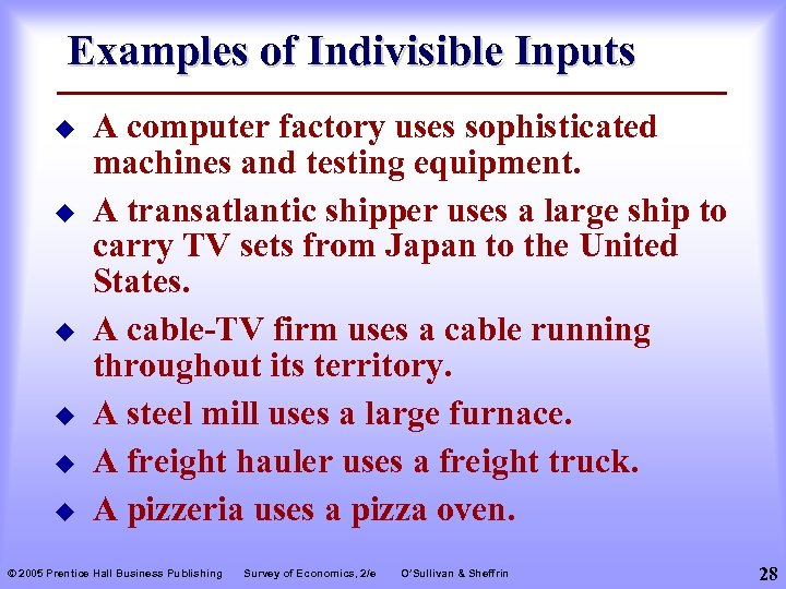 Examples of Indivisible Inputs u u u A computer factory uses sophisticated machines and