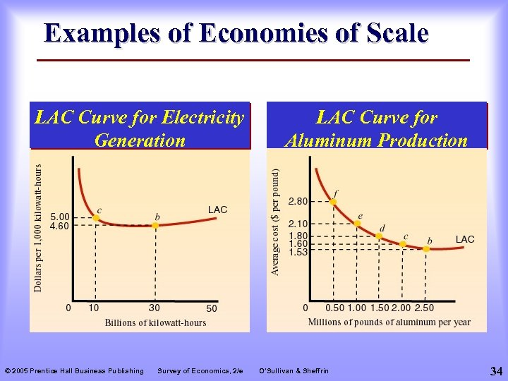 Examples of Economies of Scale LAC Curve for Electricity Generation © 2005 Prentice Hall