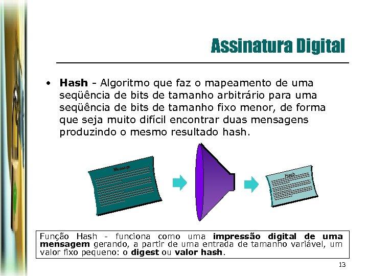 Assinatura Digital • Hash - Algoritmo que faz o mapeamento de uma seqüência de