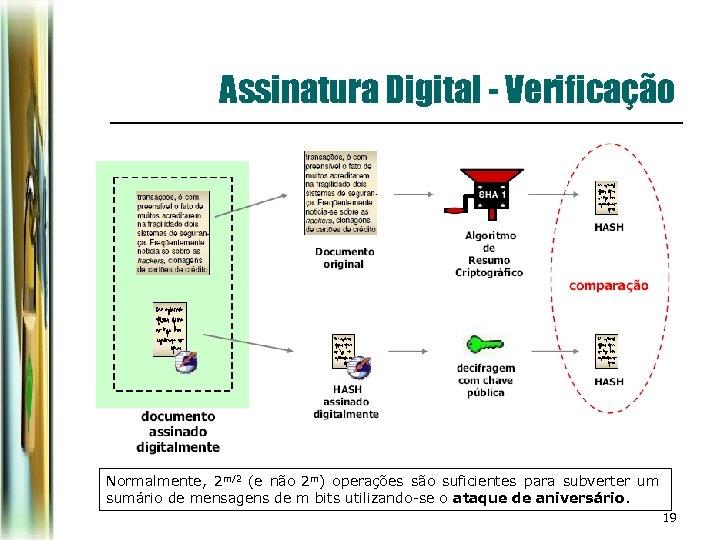 Assinatura Digital - Verificação Normalmente, 2 m/2 (e não 2 m) operações são suficientes