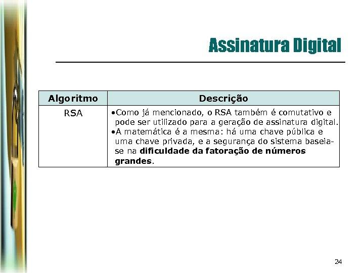 Assinatura Digital Algoritmo Descrição RSA • Como já mencionado, o RSA também é comutativo
