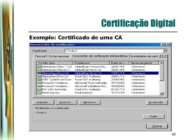 Certificação Digital Exemplo: Certificado de uma CA 60