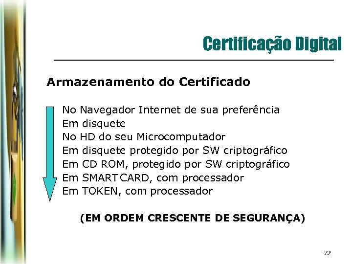 Certificação Digital Armazenamento do Certificado ¡ ¡ ¡ ¡ No Navegador Internet de sua