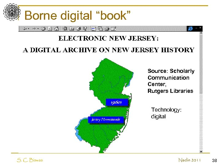 """Borne digital """"book"""" Electronic new jersey Source: Scholarly Communication Center, Rutgers Libraries Technology: digital"""