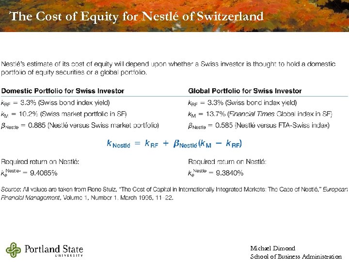 The Cost of Equity for Nestlé of Switzerland Michael Dimond School of Business Administration