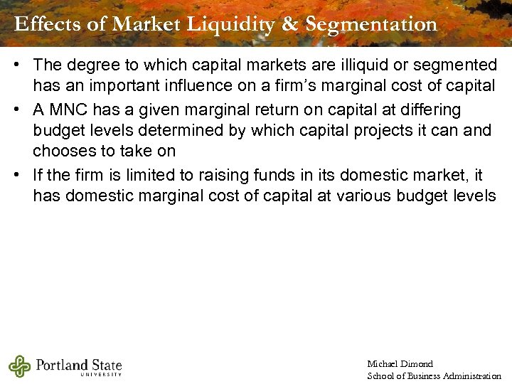 Effects of Market Liquidity & Segmentation • The degree to which capital markets are