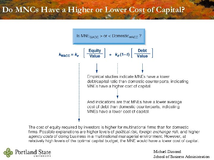 Do MNCs Have a Higher or Lower Cost of Capital? Michael Dimond School of