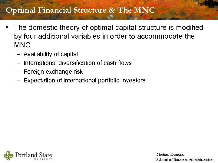 Optimal Financial Structure & The MNC • The domestic theory of optimal capital structure