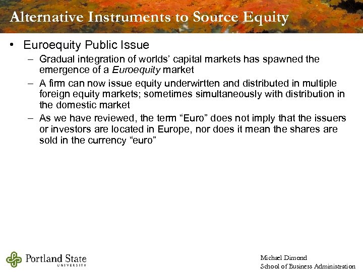 Alternative Instruments to Source Equity • Euroequity Public Issue – Gradual integration of worlds'