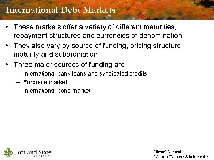International Debt Markets • These markets offer a variety of different maturities, repayment structures